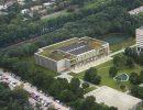 Nieuwbouw Onderwijs- en zelfstudiecentrum (OZC) op de campus van Tilburg University.
