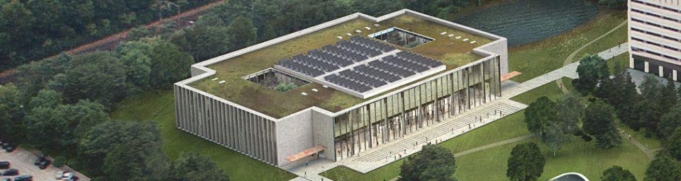 Nieuwbouw Onderwijs- en zelfstudiecentrum (OZC) op de campus van Tilburg University. Image